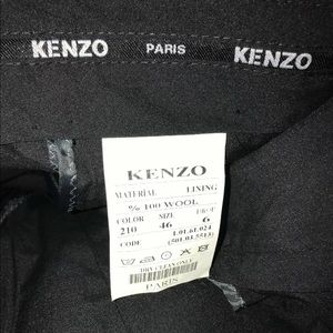 Kenzo Men's Slacks In Black 100% Wool Size 46